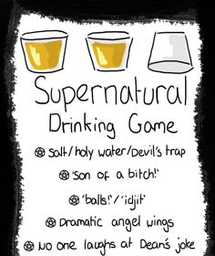 Oh hells yes! I see a SPN marathon in my future. Supernatural Birthday, Supernatural Party, Supernatural Drinking Game, Tv Show Drinking Games, Alcohol Games, 21st Bday Ideas, Fun Party Games, Good Notes, Destiel Fanfiction