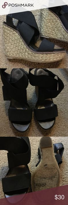 Jessica Simpson black stretchy espadrille wedges Galina style. Gently worn. Jessica Simpson Shoes Wedges