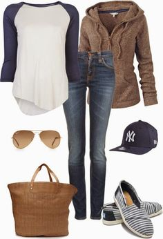Adorable fall outfits with cozy cardigan, minus the Yankees hat