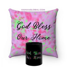 God Bless Our Home SetThis modern set consists of two items.1.God Bless Our Home MugEpic and artistic design that is rich in colors.Black ceramic11 oz (0.33 l)Rounded corners2.God Bless Our HomeFaux Suede Square PillowTop Artistic design with print on the front available in colorful pinkish design and light green.These highly practical beautiful indoor pillows in various sizes serve as statement pieces, creating a personalized environment... Gift Sets, Round Corner, Home And Living, Celebrations, Unique Gifts, Blessed, Environment, Indoor, Colorful