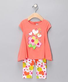 Take a look at this Coral 'Love Bug' Tunic & Leggings - Infant, Toddler & Girls by Krazy Legs on #zulily today!