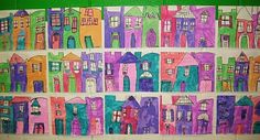 Charleston Rainbow Row  - 1st grade. I could do a similar lesson about the houses in Eureka Springs maybe to make it have an Arkansas theme