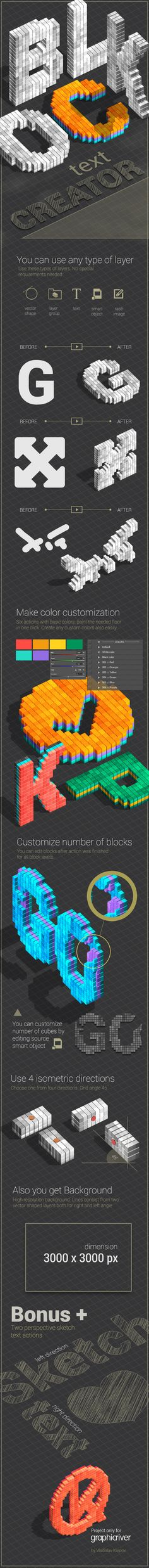 This set of Photoshop actions will help you easily to create a text from any shape. The final result is a text consisting of block squares, no matter what were the edges of the original shape. Also, the final result takes the shape contour.  #map #text #pixel art • Available here → http://graphicriver.net/item/blocks-text-creator/4858368?s_rank=27&ref=pxcr