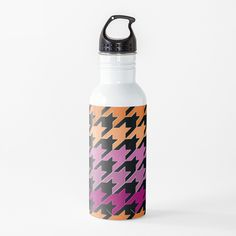 Hounds Tooth, Purple, Pink, Lesbian, Water Bottle, Art Prints, Orange, Abstract, Printed