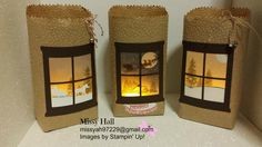 Luminary Kraft Bags with Hearth & Home Thinlits, Sleigh Ride Edgelits, Happy Scenes and Cozy Christmas stamp sets.