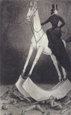"""Alfred Kubin at the Neue Galerie Die Dame auf dem Pferd (The Lady on the Horse)"""" (circa Illustrations, Illustration Art, Alfred Kubin, Arte Horror, Art Database, Equine Art, Horse Art, Dark Art, Painting & Drawing"""