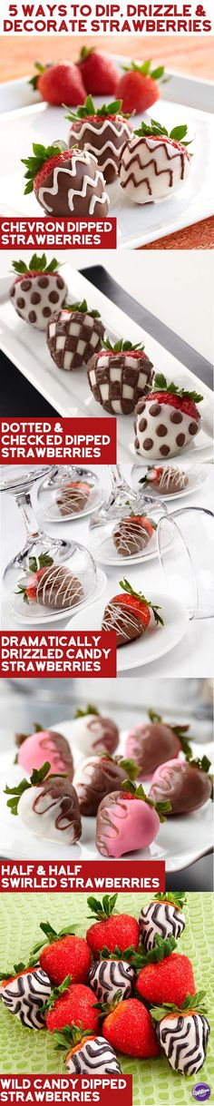 ^^ Chocolate covered strawberries never go out of style, but you can certainly amp up their style with these 5 ways to dip, drizzle and decorate strawberries with Candy Melts Candy! :)