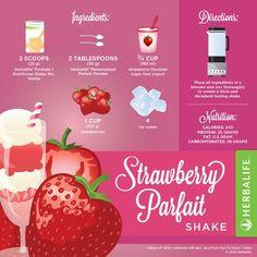 Herbalife Strawberry Parfait Shake More Herbalife Dieta, Herbalife Meal Plan, Herbalife Recipes, Herbalife Nutrition, Herbalife F1, Herbalife Motivation, Herbalife Products, Nutrition Club, Nutrition Shakes