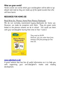 Set 2-3-phonic-booklet-for-parents-1 Read Write Inc, Phonics Flashcards, What Is Green, Blending Sounds, English Phonics, Nonsense Words, Phonics Reading, Better Weather, Simple Pictures