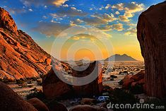 Photo about Sunset amongst the rocks at Spitzkoppe - Namibia. Image of southern, horizontal, boulder - 25776034 Desert Sunset, Bouldering, The Rock, Rocks, Southern, Stock Photos, Nature, Travel, Image