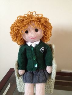 Knitted doll ready for school 2014
