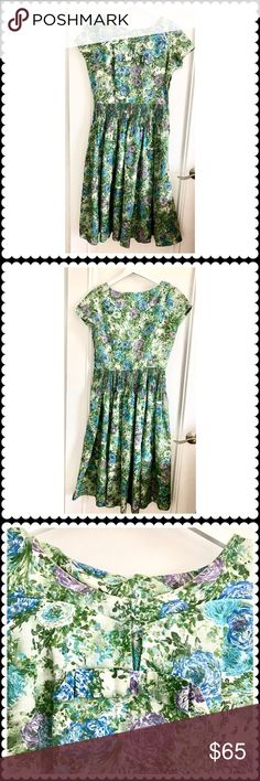 """🆕Beautiful floral print vintage dress Vintage dress from 40's/50's. Material is probably synthetic. Side zipper opening. Unlined. No size on the dress. It looks like Large. It almost looks hand sewn. In excellent vintage condition. Chest under arm across is about 19"""". Waist above the thin pleats across is about 14"""". Dresses"""
