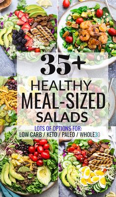 Healthy Meal-Sized Salads that are hearty, delicious and perfect for lunch or dinner. No more boring side salads with just plain lettuce! These amazing salads are all loaded with a combination of Lettuce Salad Recipes, Salad Recipes For Dinner, Easy Salads, Healthy Salad Recipes, Healthy Dinner Recipes, Delicious Recipes, Protein For Salads, Amazing Recipes, Salad Recipes Gluten Free