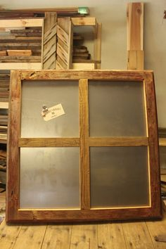 the feel we need without the window panes + wheels added // Large Window Pane Metal magnet board with recycled barn board frame, heavy duty magnetic board