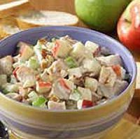 Apple chicken salad..100 grams chicken cooked and diced 1 apple diced 3 stalks celery diced 3 T. lemon juice 1/8 tsp. cinnamon Dash of nutmeg Dash of cardamom Dash of salt sugar (or stevia) Wedge of lemon