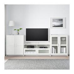 BRIMNES TV storage combination/glass doors, white white 108 5/8x16 1/8x37 3/8
