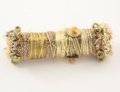 df93203c3af5 Fiber Bead Fabric Antique Gold Green Embroidered Textile Art Bead. Oro  AntiguoTela ...