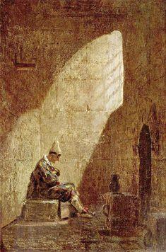 """Carl Spitzweg: """"Aschermittwoch"""", 1855-1860, oil  on canvas, Dimensions:21 × 14 cm (8.3 × 5.5 in), Current location: Staatsgalerie Stuttgart."""