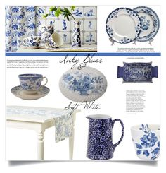 """""""Inky Blues & Soft White"""" by marialibra ❤ liked on Polyvore featuring interior, interiors, interior design, home, home decor, interior decorating, Burleigh, GreenGate and Maison du Linge"""