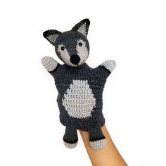 Boris The Wolf Hand Puppet By Vera - YukiYarnDesigns - Purchased Crochet Pattern - (ravelry) Crochet Amigurumi, Knit Or Crochet, Double Crochet, Crochet Toys, Crochet Baby, Crochet Animals, Stuffed Animals, Boris The Wolf, Ravelry