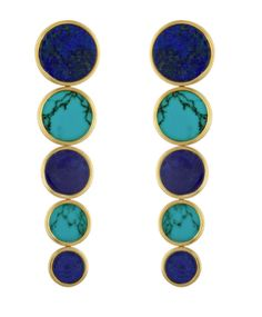 Comet earrings, with lapis and turquoise.  Lapis Jennifer Alfano.