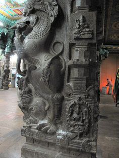 Yali (யாளி) It has been widely used in south indian temples pillars. Part of lion and elephant as a body and head. Some say its not only made up of 2 or 3 animals, its also made up of million parts. source (brandonkhatefest) Few or like Lion Elephant Human Dog Rat Goat Type of Yali 1. சிம்ம யாளி (Simma Yali) - Lion Yali 2. மகர யாளி (Magara Yali) - Goat Yali 3. யானை யாளி (Yannai Yali) - Elephant Yali