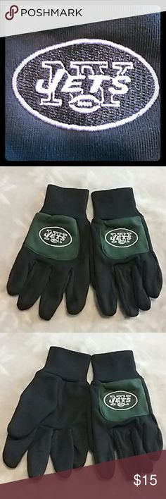 New York Jets NFL Winter Gloves NWOT It had official NFL tags on it when I got them, but I removed the tags and just never used them. It was a stocking stuffer this Christmas, but I also got a pair of leather gloves, and decided I'm not going to use these. So new without tags. No size but definitely would be a large for women, and at least a medium for men, although I think they may be a mens large NFL Accessories Gloves