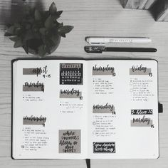 bullet journal bujo planner ideas for weekly spreads studygram study gram calligraphy writing idea inspiration month dates study college leaf layout one page tips quotes washi tape Bullet Journal Weekly Layout, Bullet Journal 2019, Bullet Journal Notebook, Bullet Journal Aesthetic, Bullet Journal Themes, Bullet Journal Inspo, Bullet Journal Spread, Bullet Journals, Journaling