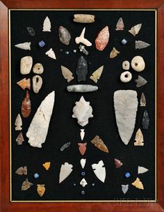Framed Arrowheads and Various Trade Beads