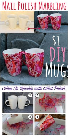 DIY Coffee Mug Art Ideas To Personalize Your Home If you are searching for some inspirational and lovely ideas then you are on the right way. Because I am going to show you 15 easy DIY coffee mug art ideas to personalize your home:Nail Polish Marbling Dollar Store Crafts, Diy Crafts To Sell, Diy Crafts Cheap, Sharpie Mug Designs, Sharpie Mugs, Diy Becher, Coffee Cup Art, Coffee Mugs, Coffee Lovers