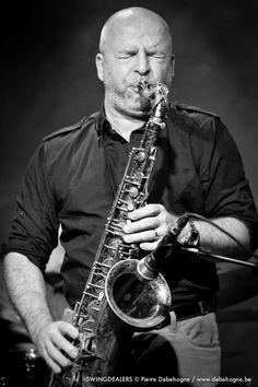 Jazz saxophonist Vincent Mardens. Music Village, Brussels, 2014-01.