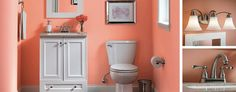 So your bathroom's tiny. That doesn't mean you have to skimp on style. For about $500, you can turn a small, cruddy space into this pretty-in-pink paradise. VIA @lowes