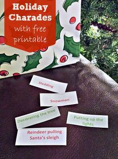 {Holiday Charades/Pictionary} Use this free printable list of activities for sounding out seasonal words. Play charades to challenge their non-verbal communication skills or turn it into a game of pictionary for some fine motor practice.