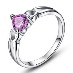 Love Solitaire Heart Pink Topaz Annulus Ring