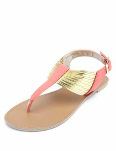 Gold Metallic Strappy Thong Sandals: Charlotte Russe