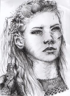 Fine liner drawing of Lagertha from Vikings