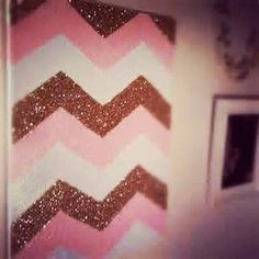 Glitter Chevron Canvas Chevron Canvas Art by DesignInTheDesert....I will change the colors to light grey & pale pink.