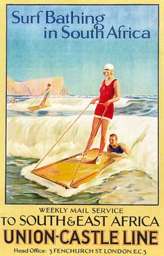 "Vintage travel poster - ""Surf bathing in South Africa"" - Union-Castle Line…"