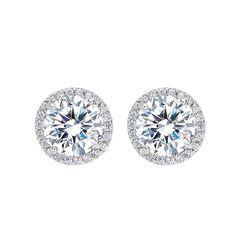 .925 Sterling Silver Cubic Zirconia Halo Bridal Stud Earrings