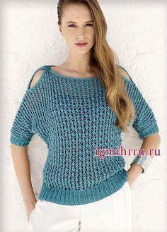 Стильный и сексуальный пуловер-сетка синего цвета, от Lana Grossa. Вязание спицами.