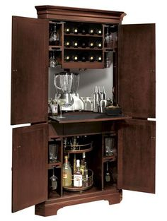 Norcross Corner Bar and Wine Cabinet - Open