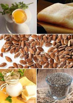 Источники Омега-3 - желток, жирные сорта рыбы, льняные семена, семена чиа, коровье масло