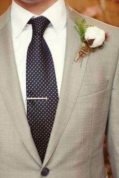 Rustic cotton boll boutonniere. Fleurs de France Floral, Addison/Dallas, TX. Courtesy of Sarah Kate Photography