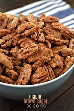 Sweet and salty, these caramelized Maple Brown Sugar Pecans are perfect for snacking, topping on a salad, or giving as a gift. The recipe makes 2 lbs of pecans, so prepare to enjoy for many days! Sugared Pecans, Roasted Pecans, Candied Pecans, Appetizer Recipes, Snack Recipes, Cooking Recipes, Appetizers, Dessert Recipes, Pecan Recipes