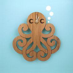 Happy Octopus Wooden Wall Clock