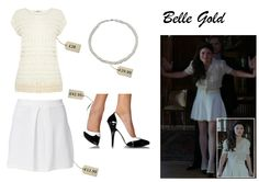 "http://www.thecelebritydressingroom.com/#!Once-Upon-a-Time-Belle-Gold/cmbz/7CB30823-71A9-45D6-91C5-AEC38C8A778F #Belle, newly Ms Gold, is the undisputed queen of platform shoes. In this first episode of the new season of #OnceUponATime ""A Tale of Two Sisters"", Belle is wearing this very cute outfit with beautiful heeled oxford shoes with a white skirt and natural lace cardigan. Perfect outfit for a first date, don't you think?"