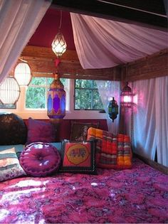 #Moroccan style #teen day/bedroom area, lots can be achieved with swags of fabric, hanging lanterns and  lots of cushions!