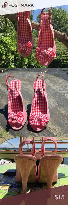 Got bows? 🎀🎀Host Pick Adorable summer sling backs. Fabric bows, textile upper. Angeles Shoes