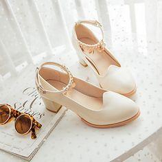 Zapatos de mujer - Tacón Robusto - Tacones - Tacones - Oficina y Trabajo / Vestido / Fiesta y Noche - Vellón / Semicuero -Azul / Rosa / 2016 - $22.99