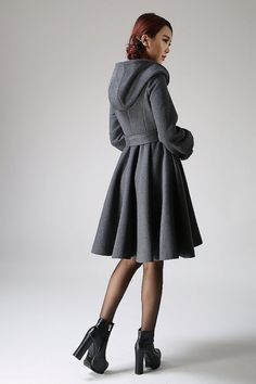 hooded coat swing coat winter wool coat gray coat by xiaolizi